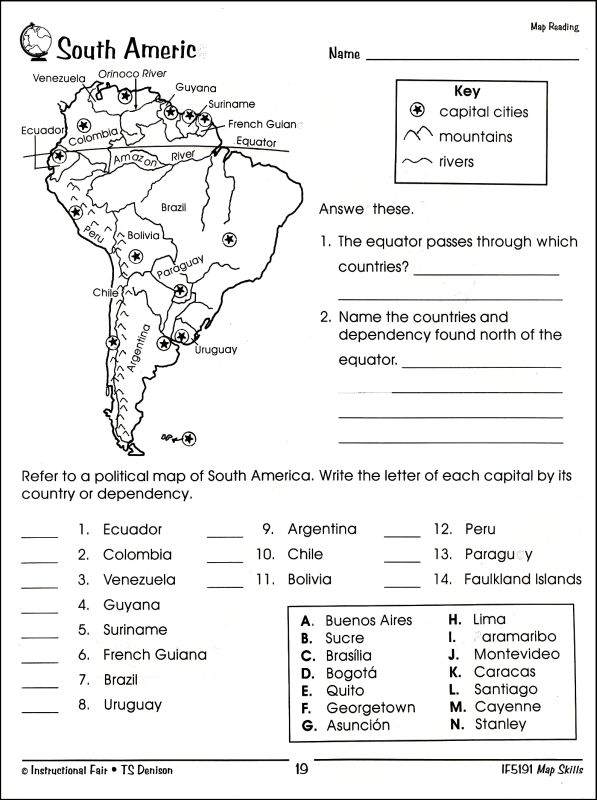 North America Map Skills Worksheets Free Map Skills Worksheet