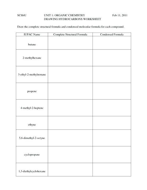 High School Chemistry Worksheets