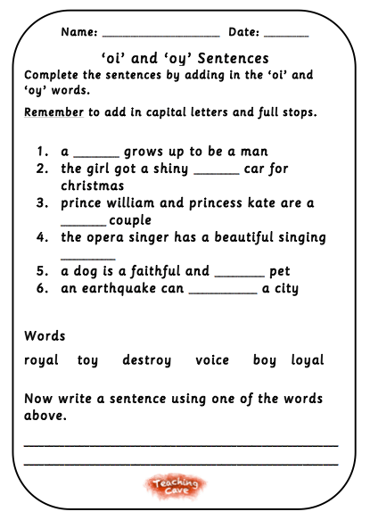 Oy And Oi Phonics Games And Worksheets