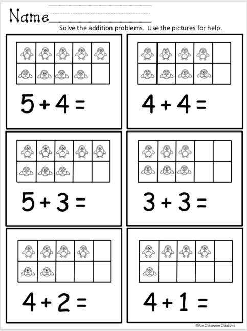 Free Kindergarten Addition Worksheets