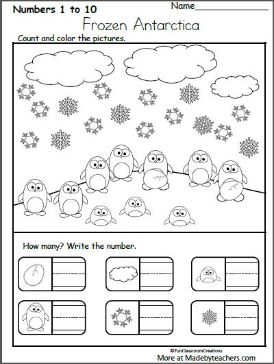 Free Kindergarten Winter Math Worksheet