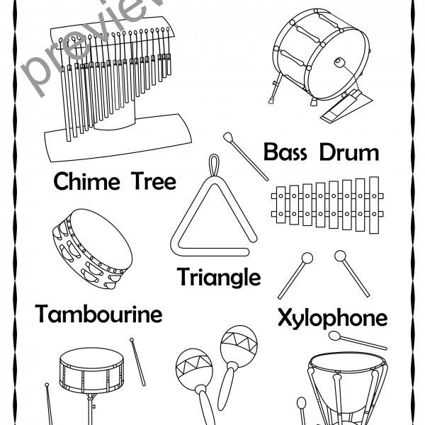 Percussion Instruments Line Puzzles   Anastasiya Multimedia Studio