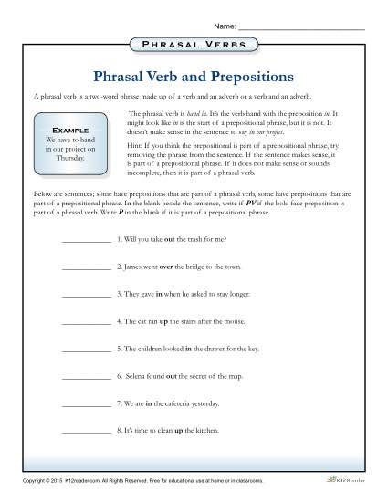 Phrasal Verbs And Prepositions Worksheet