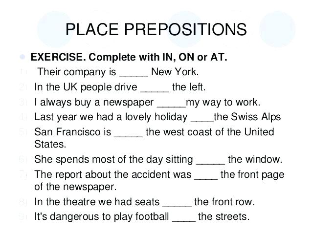 Prepositions Of Place Exercises Worksheets Prepositions Place