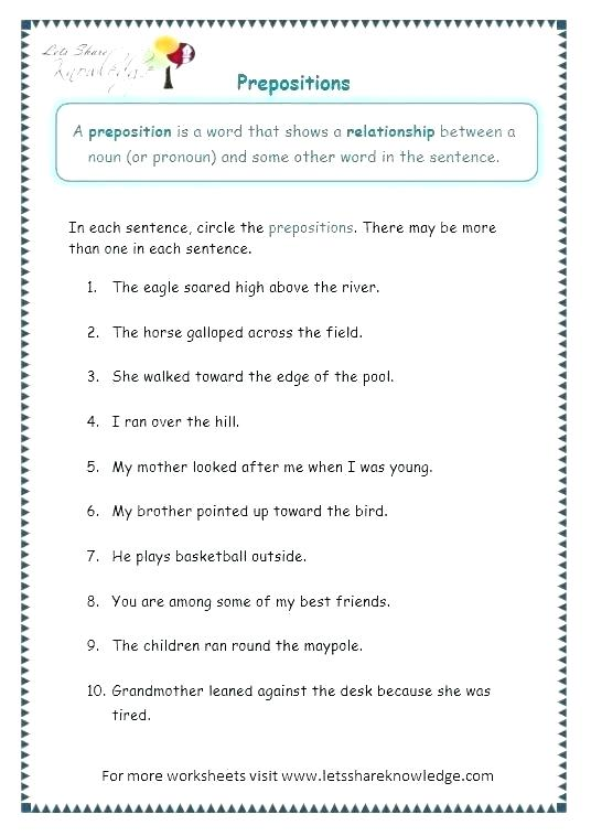 Prepositions Of Place Worksheets Preposition Worksheets