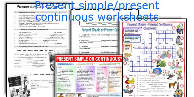Present Simple Present Continuous Worksheets