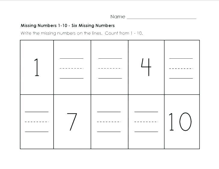 Printable Number Ng Worksheets 1 For Kindergarten Numbers 10 Esl