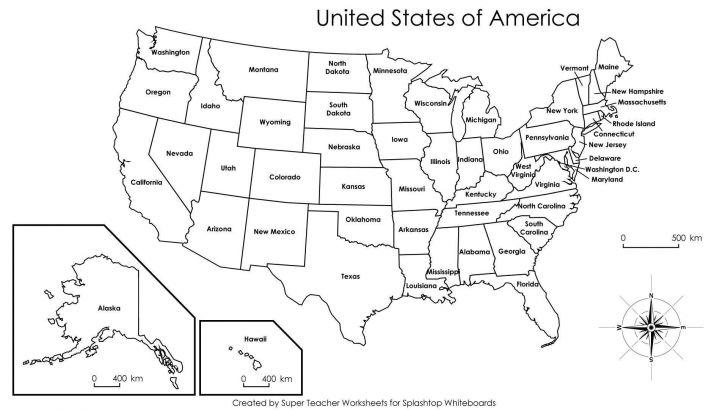 Blank Us Map Worksheet