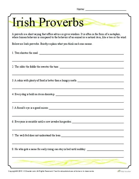 Proverbs Worksheets Worksheet For Grade Lesson Planet 3