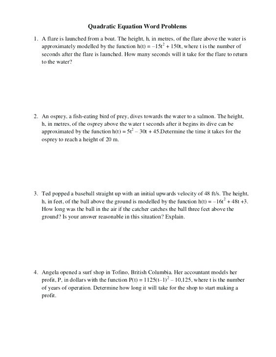 Quadratic Applications Worksheet Answers Download Them And Try To