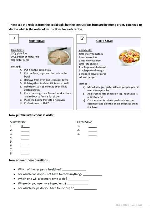 Recipes Worksheet Free Printable Worksheets Made Esl Recipe Fun
