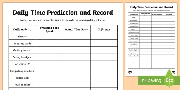 Daily Activities Time Prediction And Record Worksheet   Worksheet