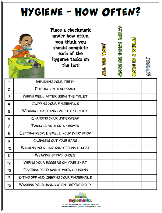 Hygiene Worksheets For Kids And Teens