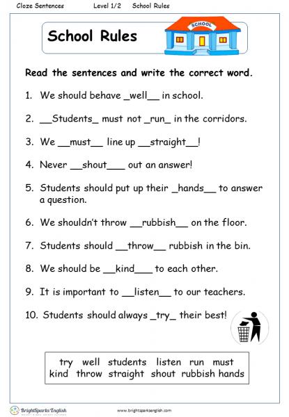 School Rules English Reading Worksheet – English Treasure Trove