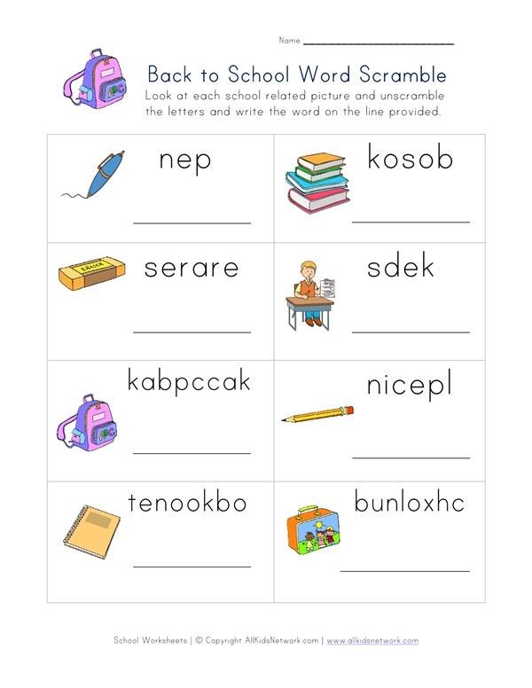 Back To School Word Scramble Worksheet