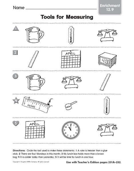 Science Tools Worksheet