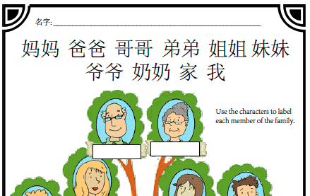 Worksheet  Family Tree – Creative Chinese
