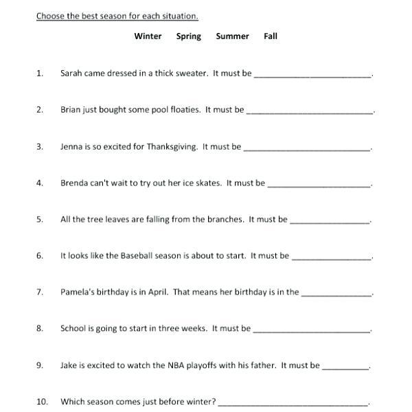 Seasons Worksheets Pdf Seasons Worksheet Months Seasons Worksheets Pdf