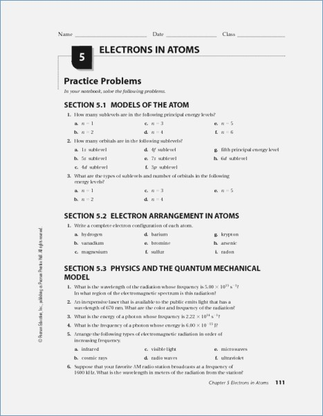 Chapter 5 Electrons In Atoms Worksheet Answers Pearson