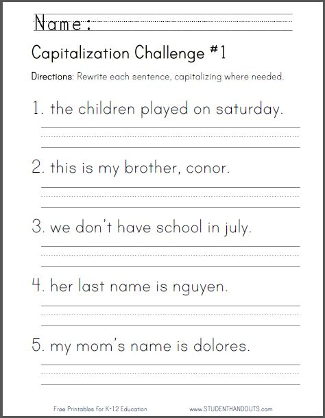 Noun Worksheets For 1st Grade