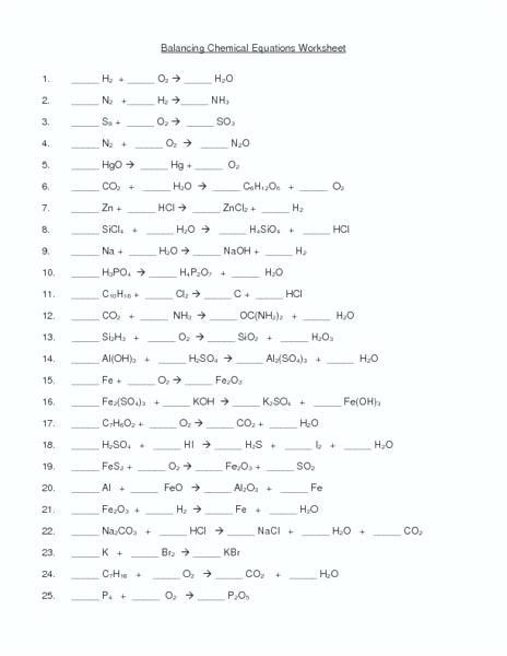 Balancing Chemical Equations Worksheet Answer Key Phet