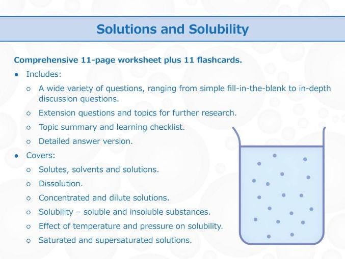 Solutions And Solubility [worksheet And Flashcards] By