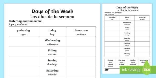 Spanish Days Of The Week Worksheet Free Printable Days Week