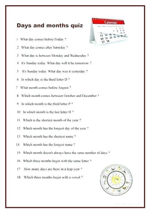 Spelling Days Of The Week Worksheets