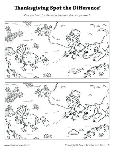 Spot The Difference Printable Thanksgiving Spot The Difference