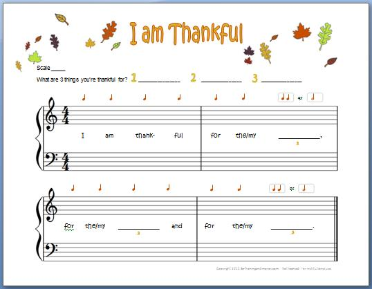 I Am Thankful  Free Piano Composition For Kids