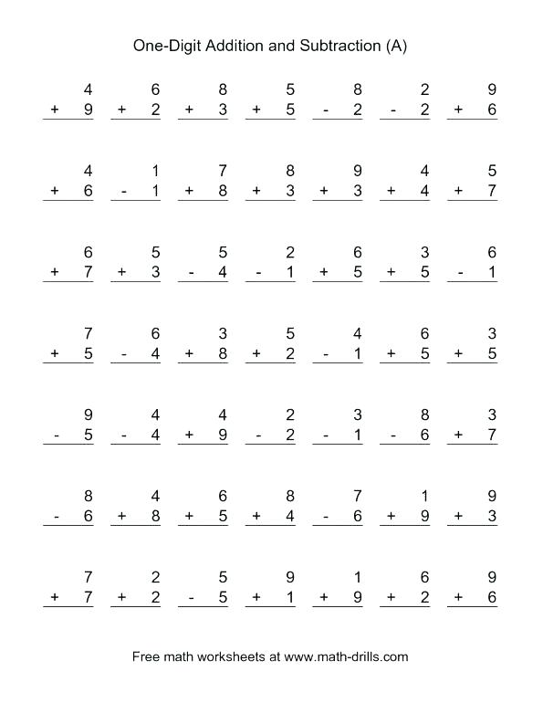 Subtraction Worksheets For First Grade