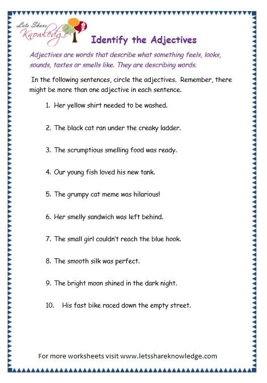 Summary Worksheet Descriptive Adjectives Homeshealth Info 35415