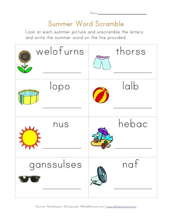 Summer Word Scramble Worksheet