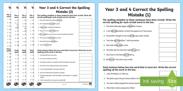 Year 3 And 4 Correct The Spelling Mistakes Worksheet   Worksheet Pack
