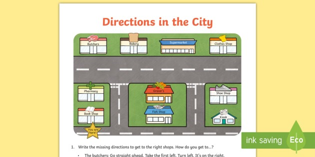 Directions In The City Worksheet   Worksheet