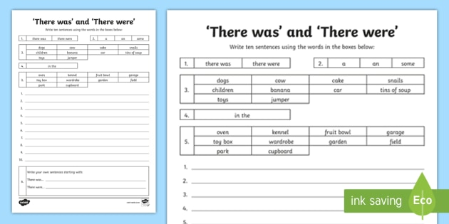 'there Was' And 'there Were' Worksheet