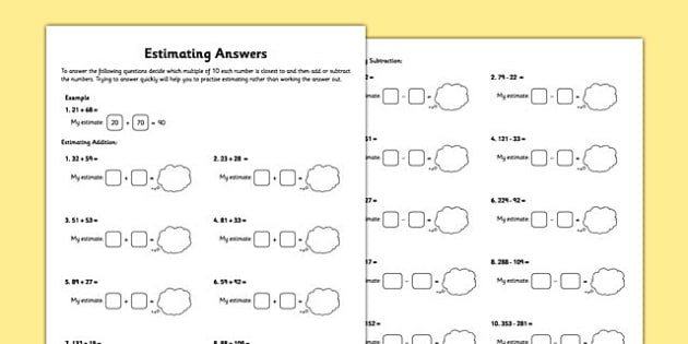 Year 3 Estimating Answers Worksheet
