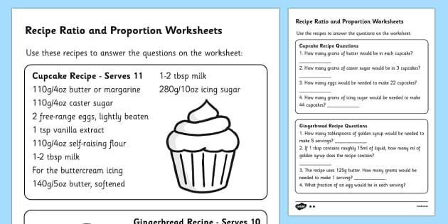Recipes Ratio And Proportion Worksheet