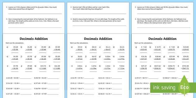 Decimals Addition Worksheet   Worksheet