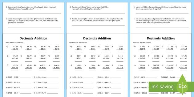Decimals Addition Worksheet   Worksheet