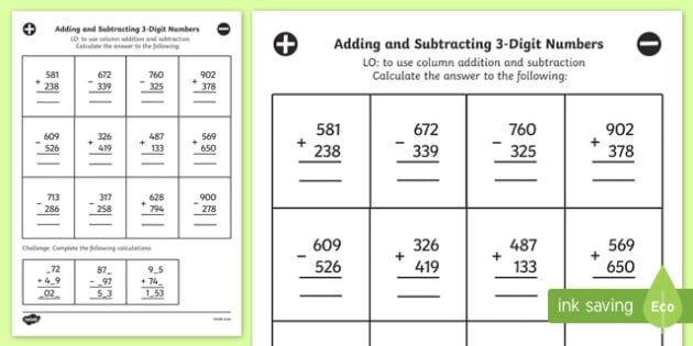 Adding And Subtracting 3 Digit Numbers In A Column Mixed Worksheet