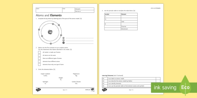 Atoms And Elements Homework Worksheet   Worksheet