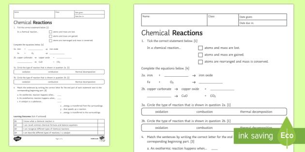 Ks3 Chemical Reactions Homework Worksheet   Worksheet
