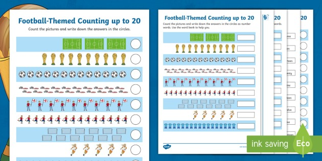 Ks1 Football Themed Counting And Writing Numbers To 20 Worksheets