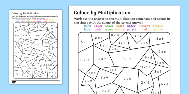 Color By Multiplication To 12x12 Activity Worksheet