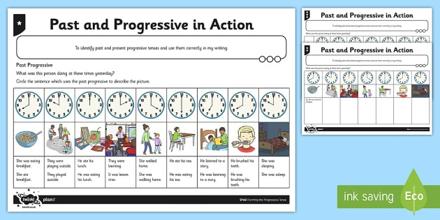 Differentiated Past And Progressive Tense In Action Worksheet
