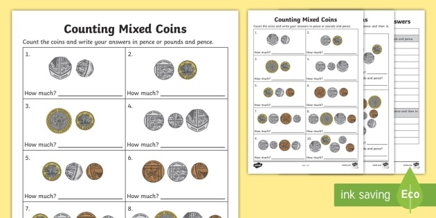 Counting Mixed Coins Worksheet