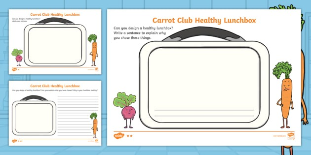 Carrot Club Healthy Lunchbox Differentiated Worksheets