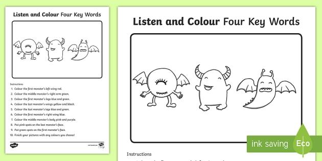 Listen And Colour 4 Key Words Worksheet   Worksheet