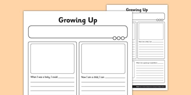 Growing Up Worksheet   Worksheet